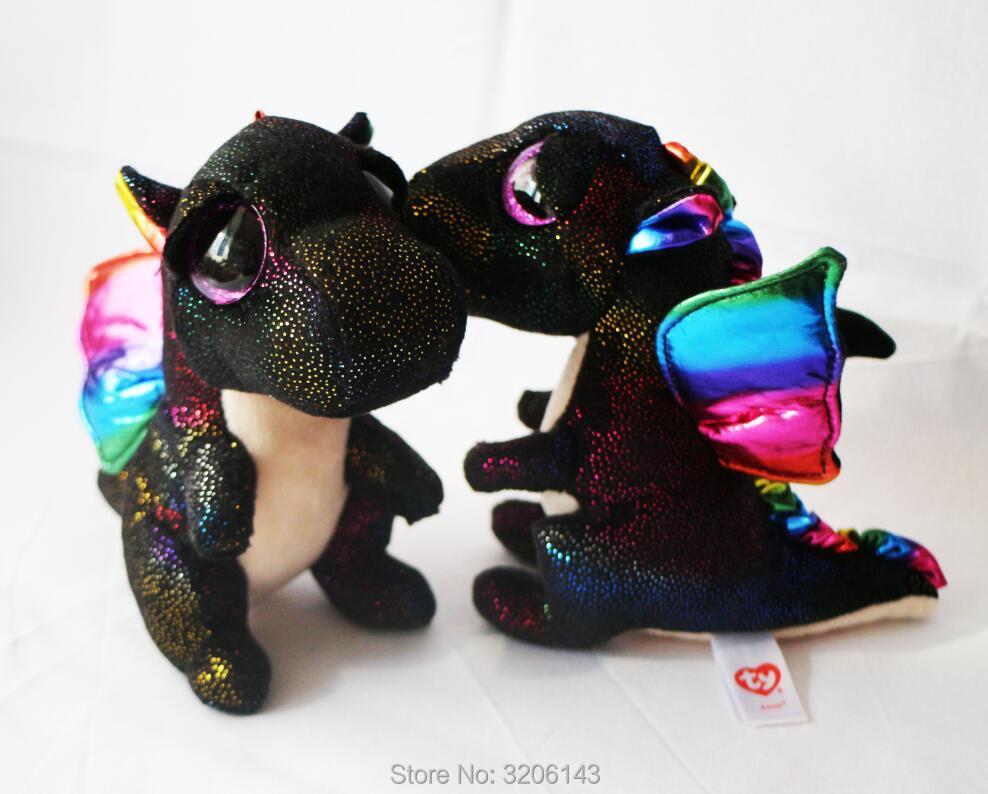 Ty Beanie Boos 6 Anora The Rainbow Dragon Big Glitter Eyes 15cm Plush Stuffed Animals Doll Toys