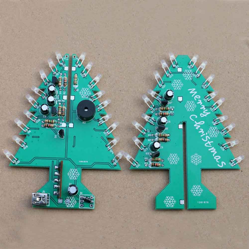 Colorful Christmas Tree Led 3d Diy Flash Circuit Parts Electronic In Addition Candle Circuits Further Simple Learning Kit Fun Suite Decor Xmas Gift With Christamas Music Integrated From