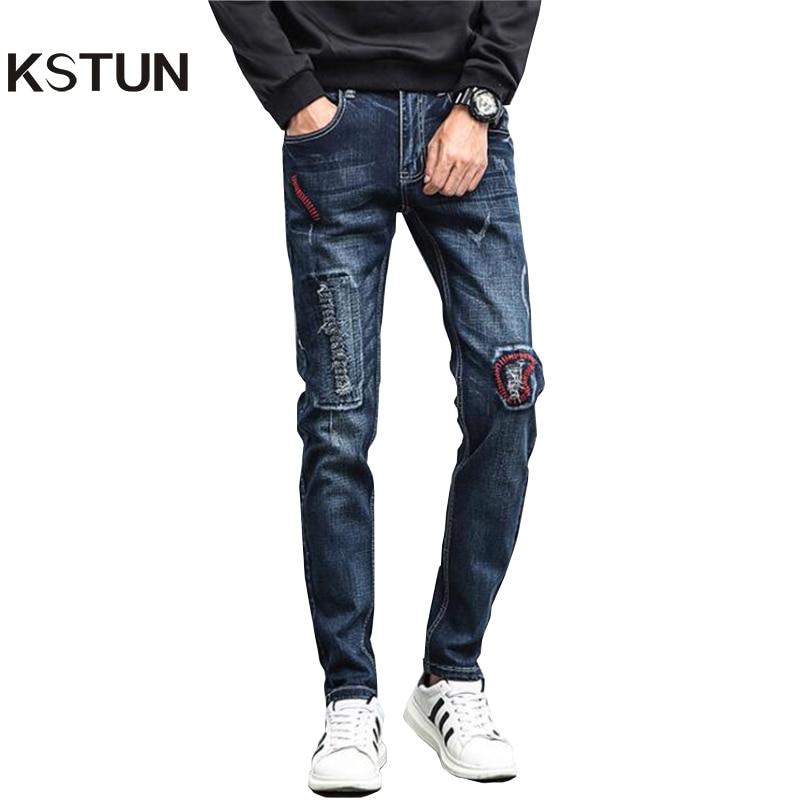 KSTUN Ripped Jeans for Men Embroidered Slim Fit Stretch Dark Blue Denim Pants Hip Hop Motocycle Biker Jeans Cowboys Male Homme