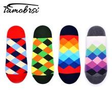 Happy Crew Street Style Checkerboard Socks Diamond Geometry Ankle Cotton Short Summer Funny Women Men Colorful Male