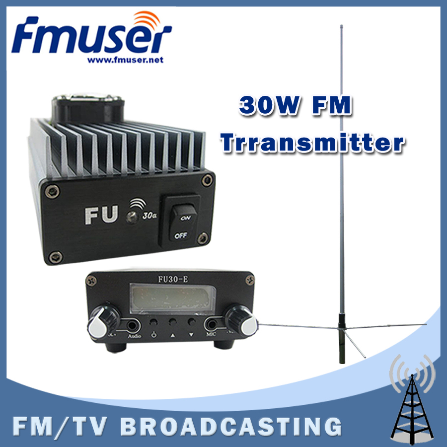 Free shipping  FMUSER FU-30A 30W Professional FM power amplifier transmitter 85-110MHz 1/2 wave GP antenna KIT free shipping fmuser st 05c 0 1w 0 5w fm transmitter antenna power supply kit