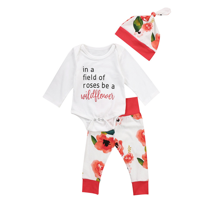 Pudcoco Newborn Toddler Infant Baby Girls Outfits Clothes Floral Long Sleeve Romper Jumpsuit+Legging Pants Set Clothing 0-18M