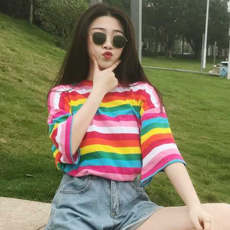 Striped T Shirt Women Rainbow Striped Tops Harajuku Tshirt 2018 Summer Short Sleeve Korean Punk T-shirt Camiseta Feminina T8