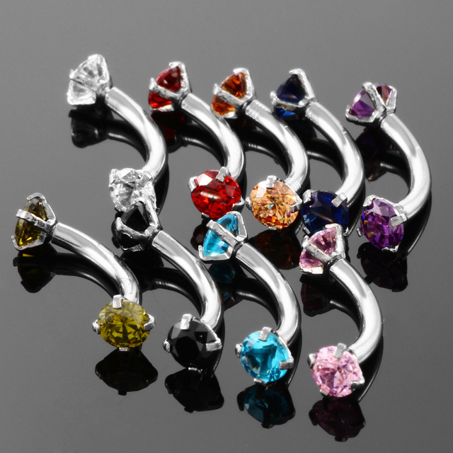 Internally Threaded 3mm CZ Curved barbell Eyebrow Ring Snug Piercing Helix Cartilage Jewelry Daith Rook Earrings 2