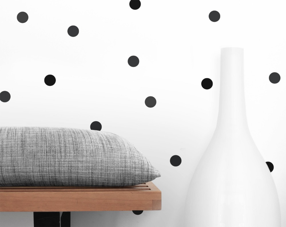 120/70 PCS 4cm and 6cm black tiny polka dots circle cycling round wall sticker for kitchen refrigerator bathroom decor