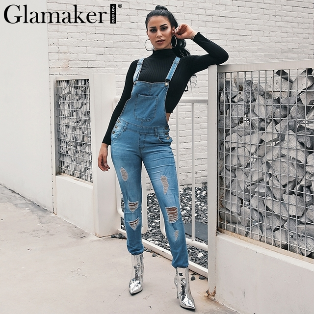 f4a5402813b Glamaker Denim destroyed hole women jeans pants Buttons skinny high waist jeans  Female fashion winter plus