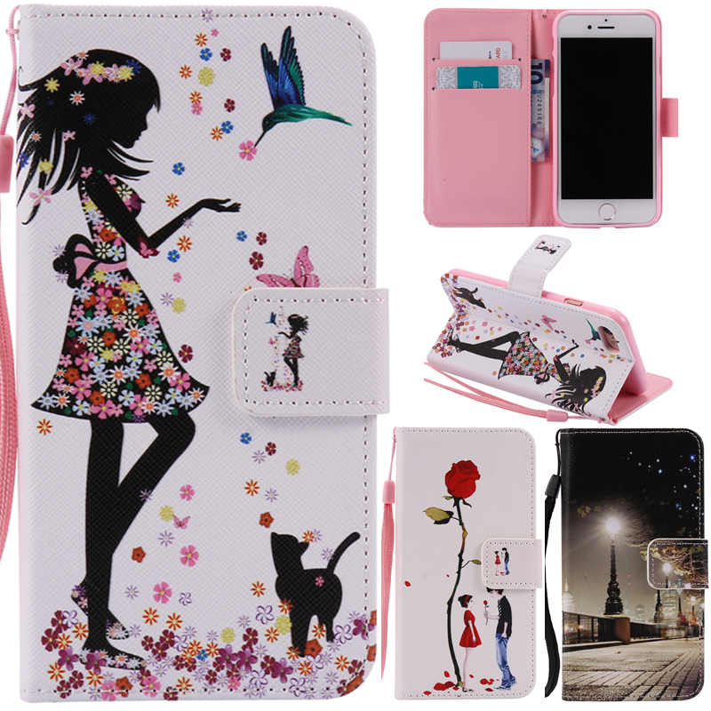 För Iphone7 Cartoon Girl Cat Bear Lover Tree Leather Wallet Strap Flip Funda Fodral För Apple Iphone 7 7plus 7 Plus Cover Capa