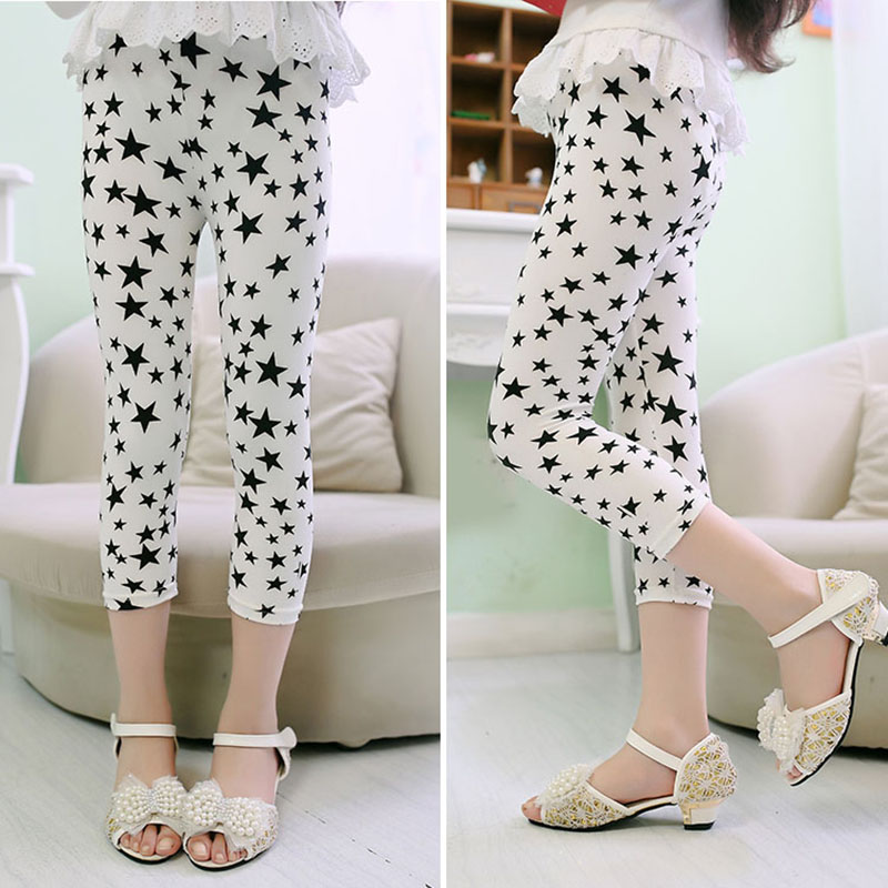 3-10years Girls Cropped Trousers Floral Print Flower Kids Calf Length Skinny Pants Stretch Leggings Children All-matches Bottoms 4