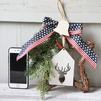 American little five star door wreaths and rattan ornaments at Christmas Free Shipping