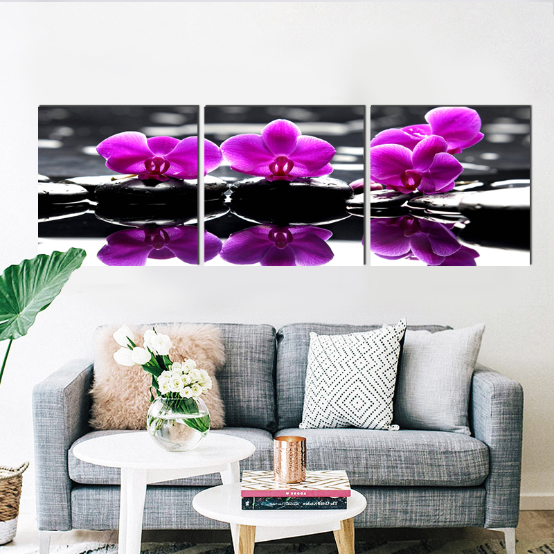 Realistic purple flower square canvas painting country pastoral art prints 3 psc home deco wall pictures for restaurant parlor in Painting Calligraphy from Home Garden