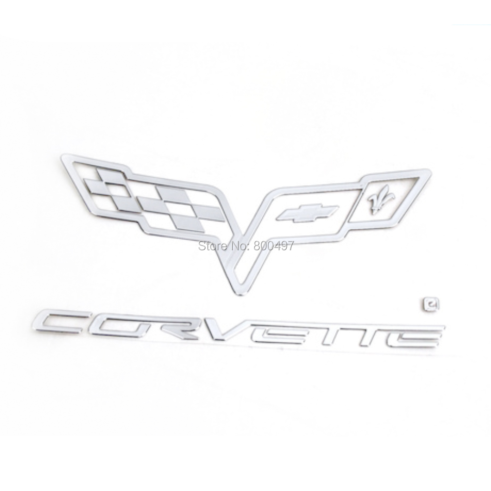 Newest 3D Car Trunk Nickel Alloy Badge Emblem Sticker Accessories Adhesive Styling Badge For Corvette Stingray Grand Sports Z06