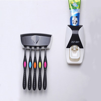 1set Fashion Automatic Toothpaste Dispenser Family Holder 5 Toothbrush Bathroom Household Wall Mount Stand Bathroom Tools
