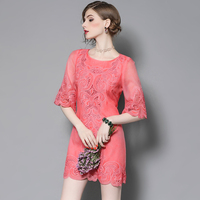 Summer Dress Casual Round Neck Mini Dress Chemical Fiber Sisjuly Girl Wind Watermelon Red Five Point