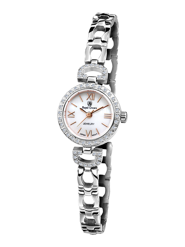 Royal Crown Jewelry Watch 6536S Italy brand Diamond Japan MIYOTA platinum Silver bracelet 19mm Claw set Soviet drill the silver crown