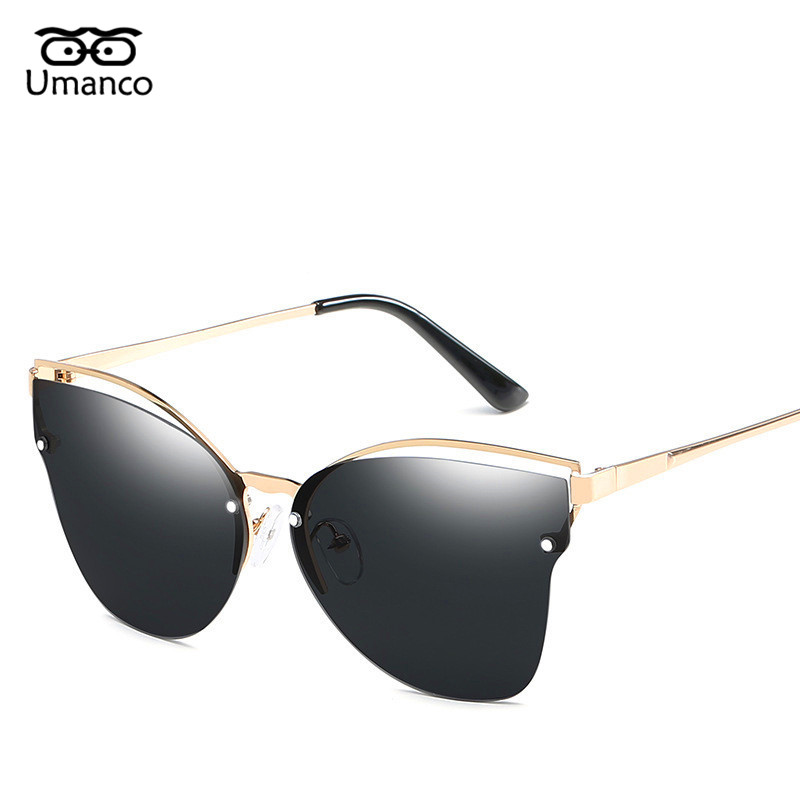 Origineel Umanco Fashion Stralen Goggle Mannen Vrouwen Cat Eye Zonnebril Metalen Eyewear Dazzling Spiegel Goud/zilver Benen Vintage Randloze Bril Harmonieuze Kleuren