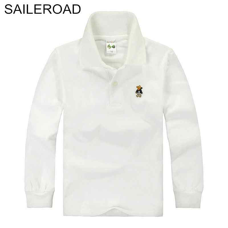 SAILEROAD 3-15Year Big Children Kids Polo Shirts Cotton Soild Color Adolescent Boys Girls Tops Tees Shirts Teenager Boys Clothes