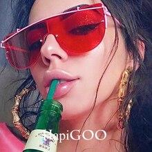 HAPIGOO Fashion Flat Top Goggle Clear Sunglasses Women Men Mirror Brand Designer Steampunk Sun Glasses Female Integrated Eyewear
