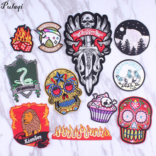Pulaqi Stripes On Cloth Sticker Skull Badge Patches For Jeans Patch Sewing on patches clothes Fabric Stickers H