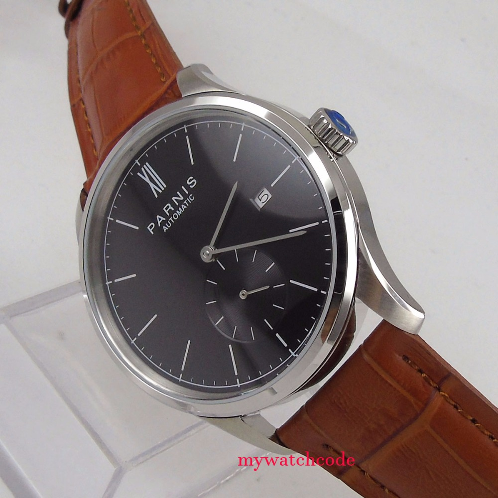 new 42mm parnis black dial date window ST 1731 automatic mens watch цена и фото