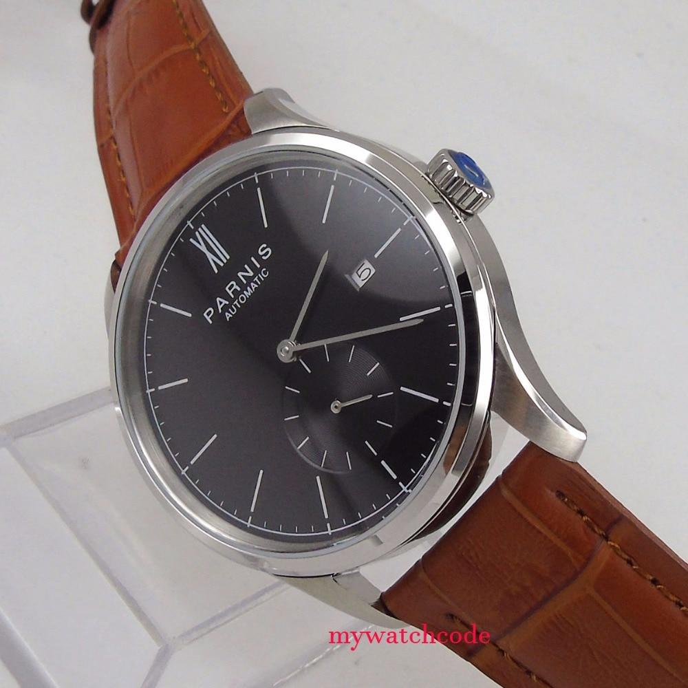 лучшая цена new 42mm parnis black dial date window ST 1731 automatic mens watch