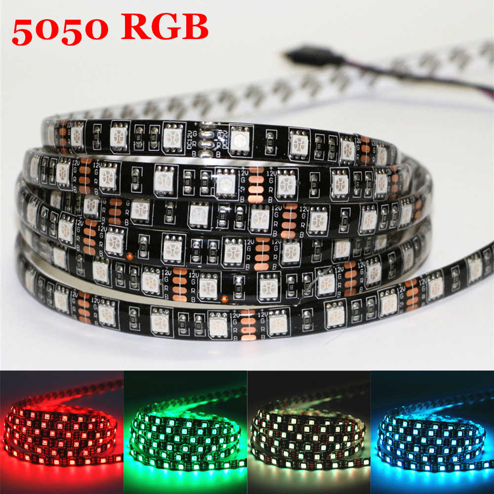 5050 RGB Flexible LED Strip light 60LEDs/m 12V 0.5/1/2/3/4/5m Non-waterproof/Waterproof Home KTV Bar Holiday Decro LED Tape Lamp