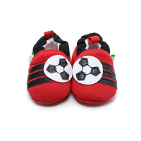 Delebao Prewalkers Cute Red Slip On Baby Boy Girl Shoes Football Pattern Soft Sole Baby Shoes
