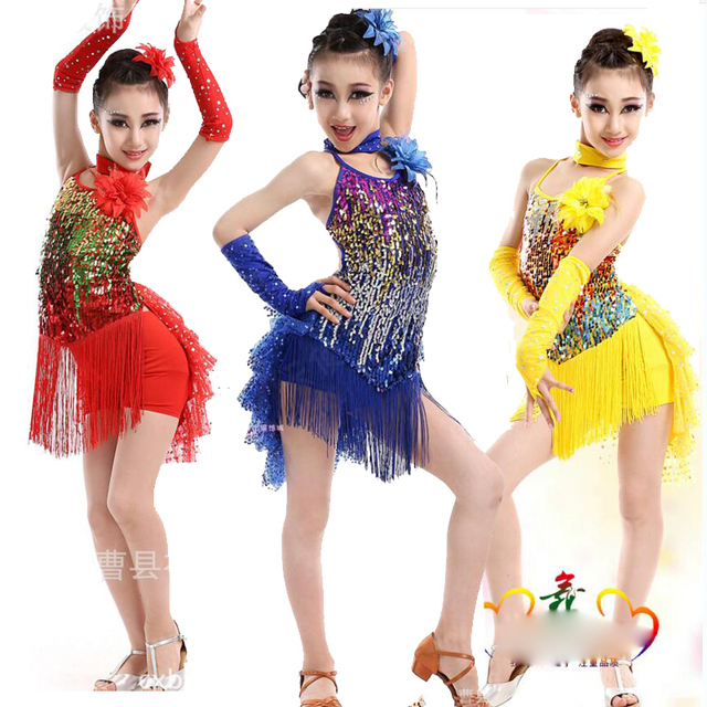 aef749c46 Child Professional Latin Dance Dress Kid Sparkling Competition Show Costume  Girl Tassel Salsa Fringe Dancing Tango/Rumba Outfits
