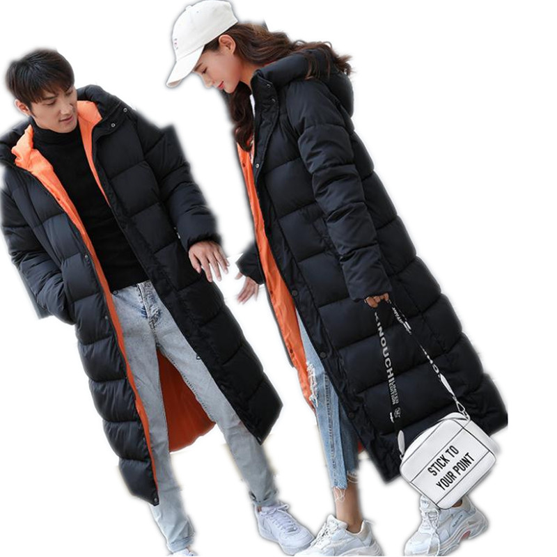 2018 Fashion X-Long Couples Winter Jackets Hooded Down Cotton Jackets Female&Men Warm Thicken Wadded Coats Loose   Parkas   Q1063