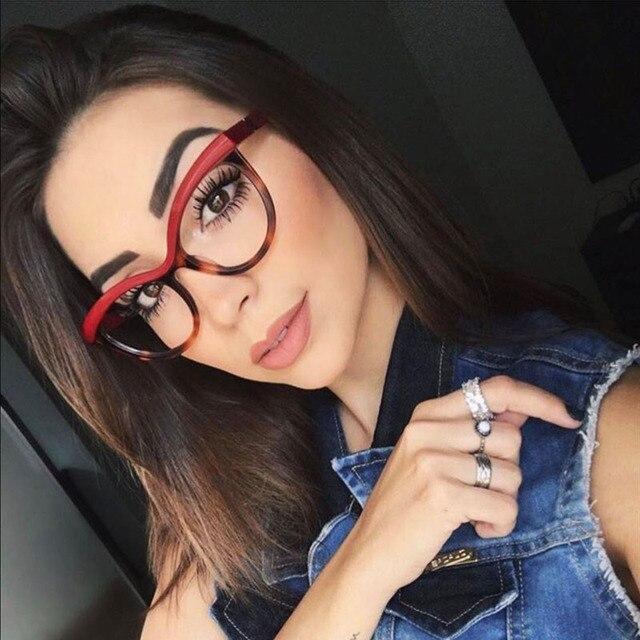 2b5578d8f أزياء المرأة القط العين النظارات إطار واضح شفاف لا درجة ماركة مصمم إطارات  النظارات سيدة جودة