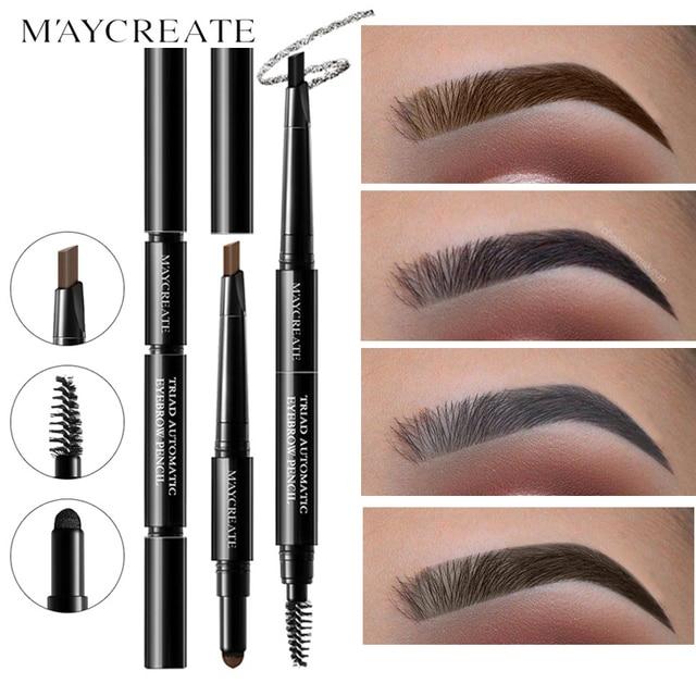 MayCreate Dark Brown Eyebrow Pencil With Brush Long Lasting Waterproof Black Eyebrow Tattoo Pen Makeup Eye Brow Tint Sobrancelha