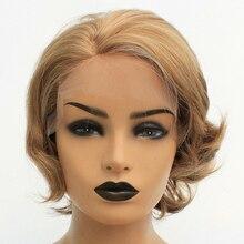 Vnice perruque synthétique Lace Front Wig Bob courte avec reflets bruns, ondulation naturelle, perruque Blonde et raie latérale en Fiber résistante à la chaleur