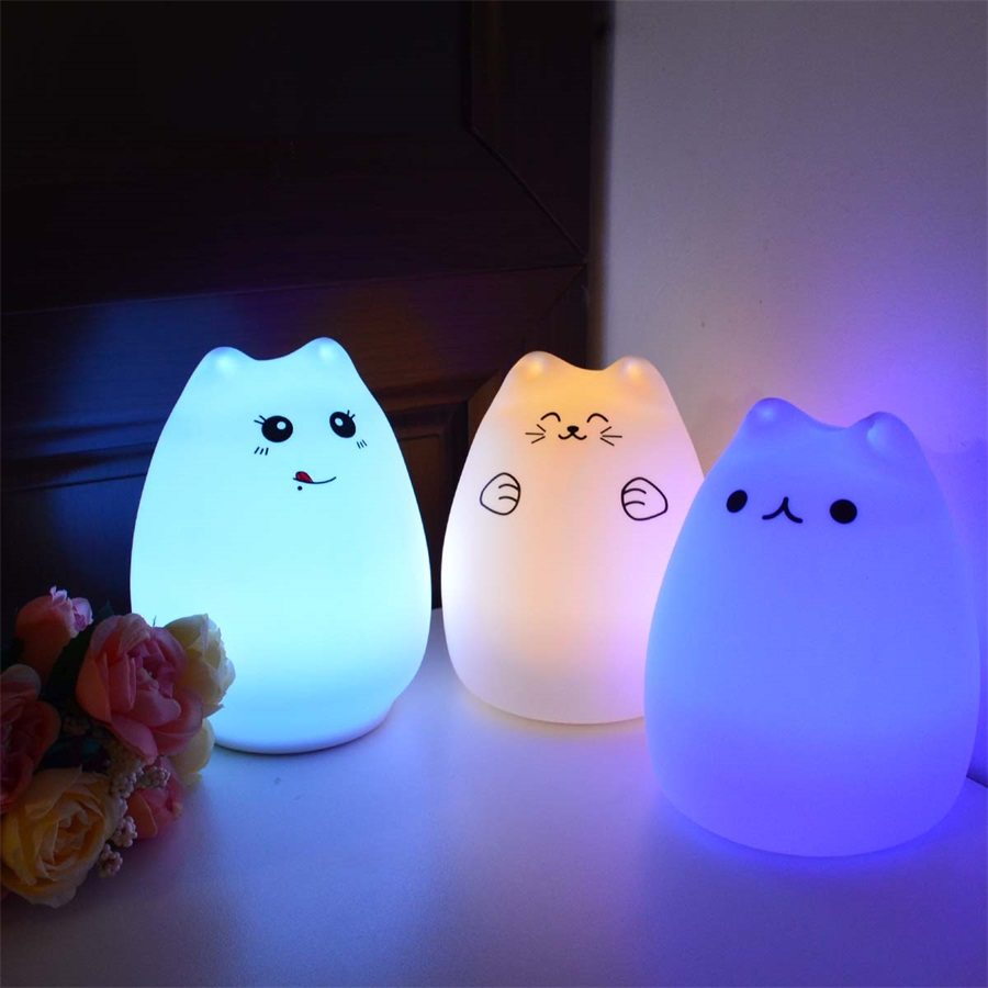 7 Color Silicone Cat Night Light USB Rechargeable Touch Sensor Night Bedside Lamp For Children Baby Bedroom Sleep Nursery Light