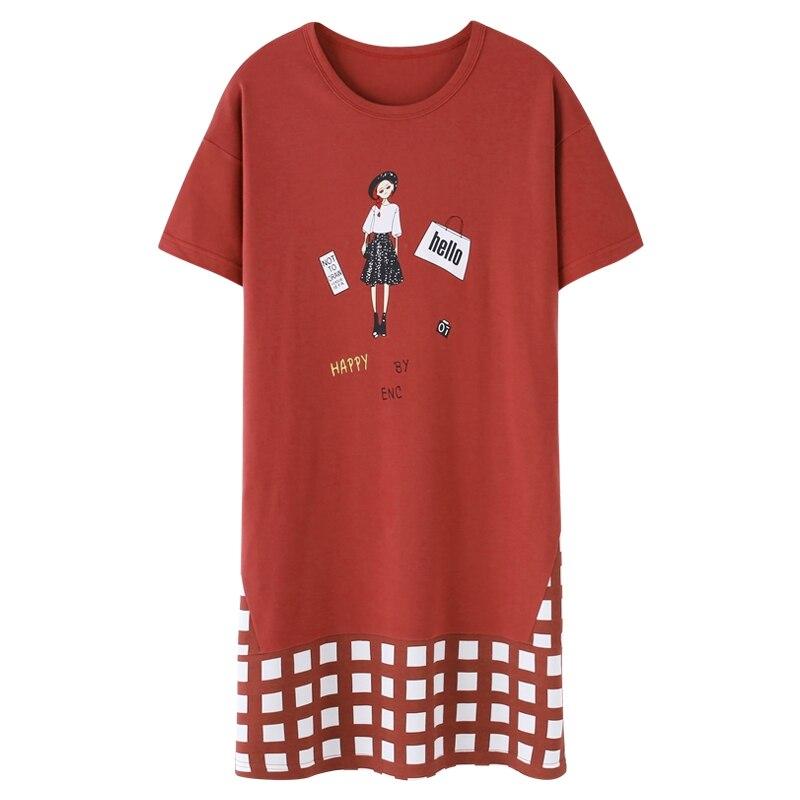Lovely Girl   Nightgown   Women Short-sleeved   Sleepshirts   2019 New Soft Cotton Nightdress Female Cartoon Nightie Nightwear Sleepwear
