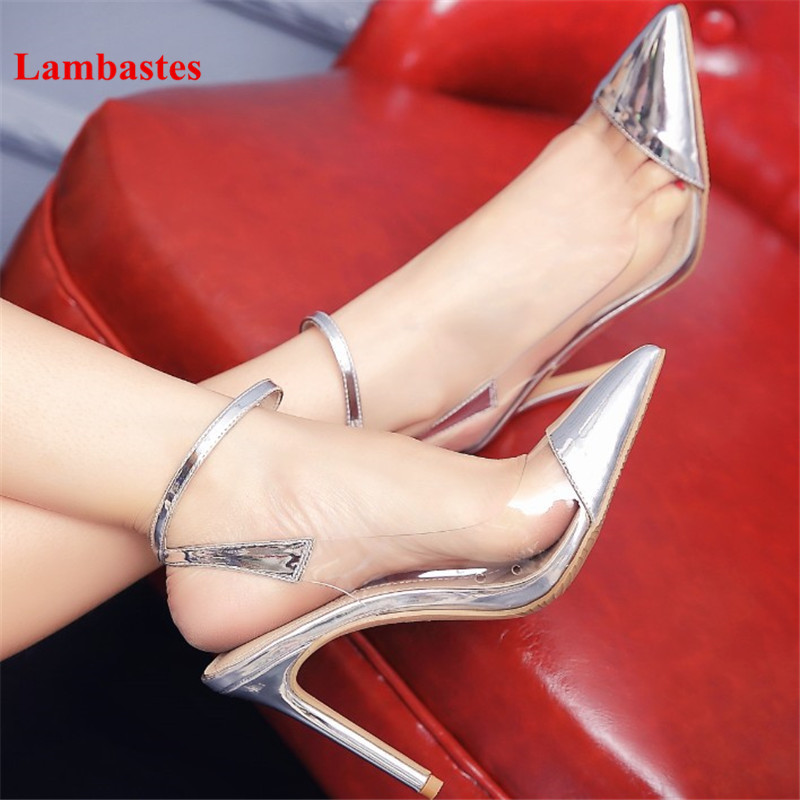 Silver Spring Autumn Pointed Toe Pvc Transparent Women Pumps Ankle Buckle Strap Thin High Heel Patent Leather Pumps Zapato Mujer hanbaidi sexy patent leather women pumps luxury rhinestone pointed toe buckle strap women high heel sansals sandalias mujer 2018
