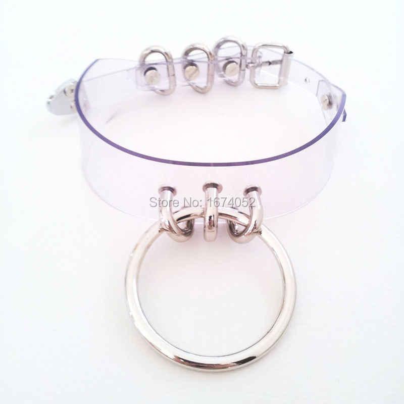 Mignon Lolita Harajuku O collier rond en métal 100% fait à la main en cuir Transparent rose vinyle clair Chooker collier