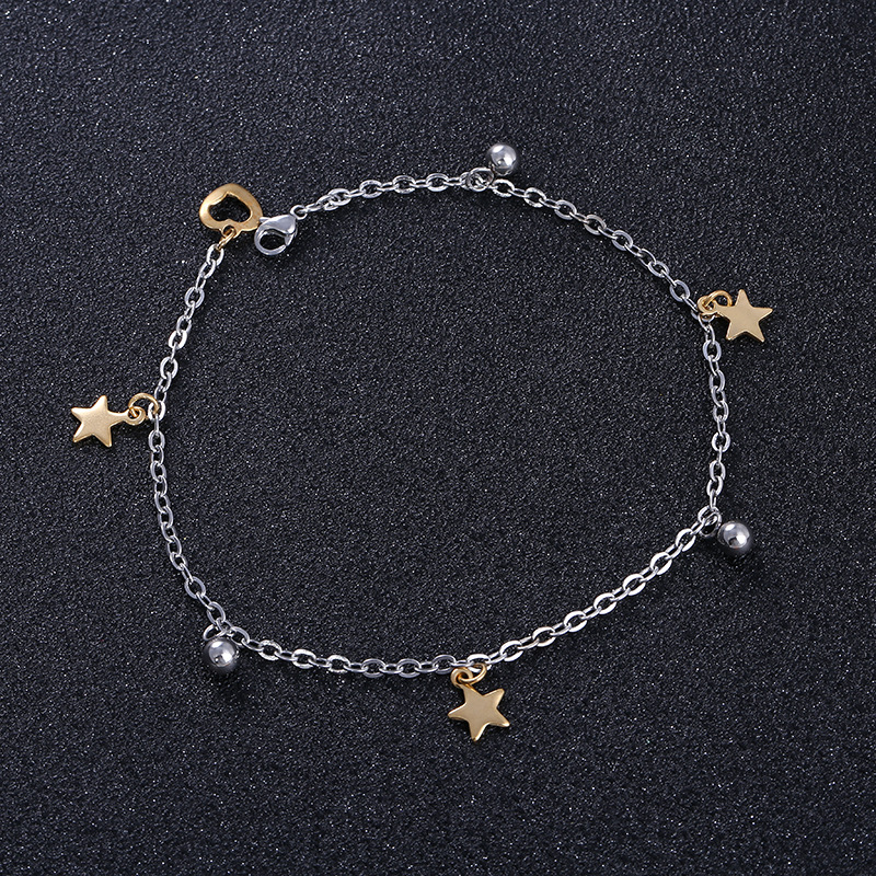 Star Anklet Chain For Women Girl Handmade Gold Silver Plated Stainless Steel Simple Personality Anklet Bracelet