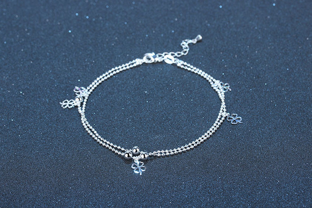 75c7a410e25 Women Ankle Chain Bracelet Fashion Jewelry Genuine 925 Sterling Silver  Chain Link Plain Silver Clover Style Ankle Bracelet Gift