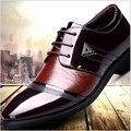 Британский Шаблон Моды для Мужчин Оксфорды Обувь Лакированная кожа мужская Платье Обувь Острым Носом Свадебные Туфли мужчины повседневная обувь Zapatos