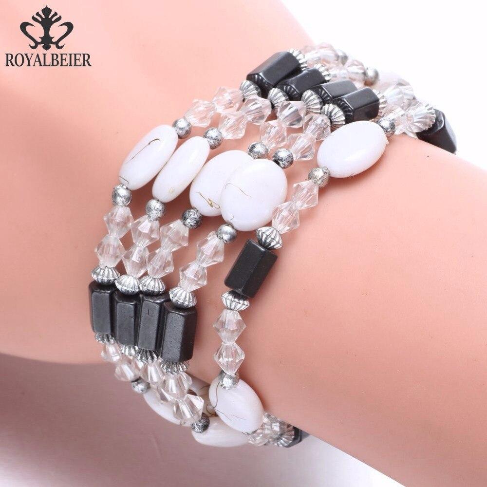 ROYALBEIER White Beaded Bracelet Magnet Slim Down Bracelet Bohemia Style For Men & Women Jewelry SZ0495d