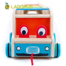 lagopus Wooden Toys Cars Animals Drag and Down Piano Car Children Early Childhood Education Puzzle For