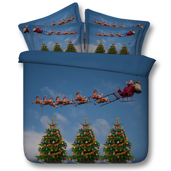 3D Cartoon Santa Claus In The Blue Sky Travel Pattern Bedding Set Bedclothes Duvet Cover Bed Sheet Pillowcase 3/4PC