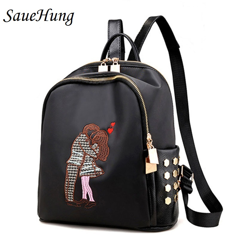 SaueHung Women Backpacks Embroidery School Bags For Teenagers and Girls Fashion Leisure Travel High Quality PU Leather