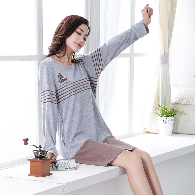 New 100% Cotton Women's Nightgown Lounge Nightdress Femme Striped Sleepwear Casual Girls Nightwear Loose Nightgowns Sleepshirt