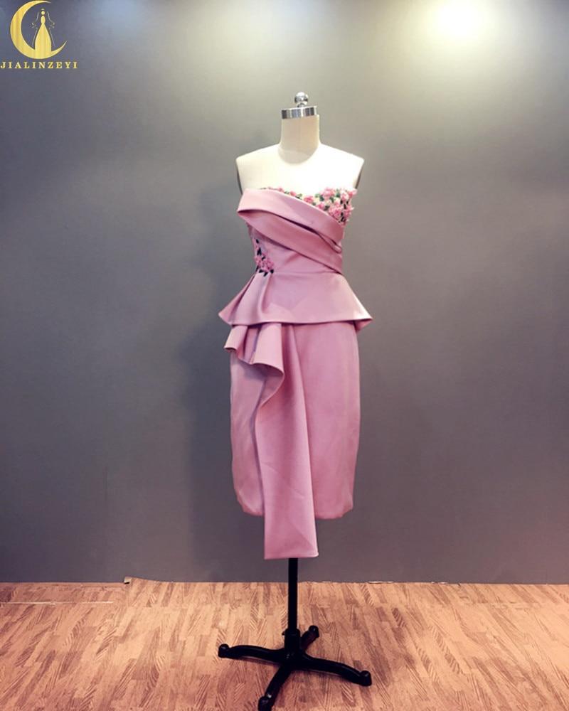 Rhin Real Sample Sweetheart Pink Satin avec des fleurs longueur au genou robes de soirée de la mode formelles Robe de bal mère