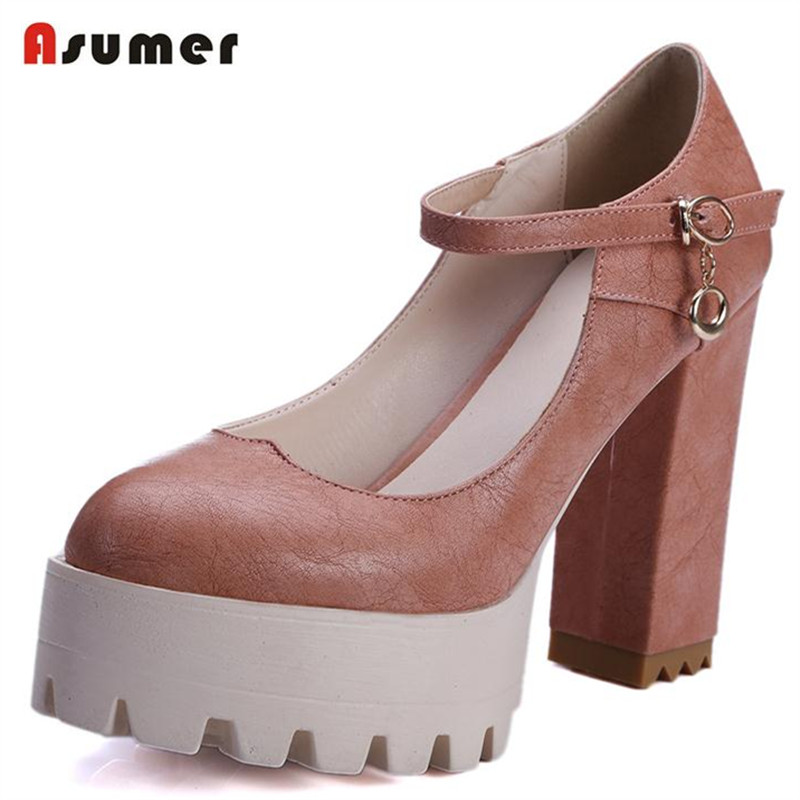 ФОТО ASUMER Soft leather shoes women buckle round toe shallow high heels shoes big size 32-42 pumps party shoes college wind fashion