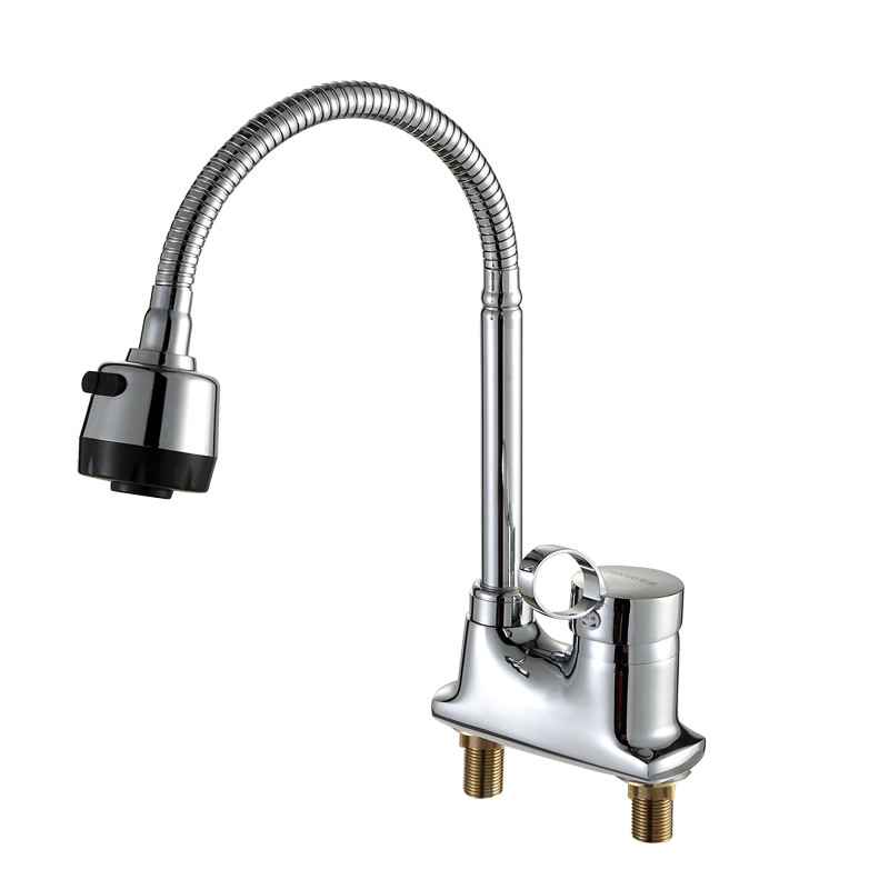 360 degree rotary kitchen faucet flexible grifos de cocina agua fria y agua caliente double hole wash basin water tap