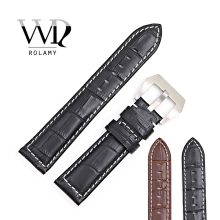 Rolamy 22mm Wholesale New Genuine Leather Black Brown Crocodile Grain Strap Wrist Watch Band Belt Pin Buckle free shipping