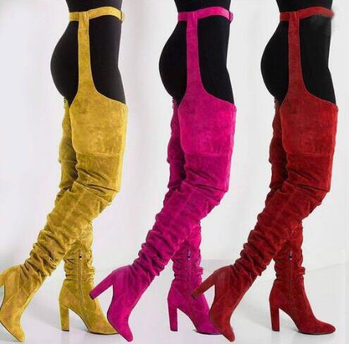 Nouveau solide daim cuir femmes sur le genou bottes longues bout pointu dames ceinture cuissardes bottes Chunky talons hauts bottes longues jaune