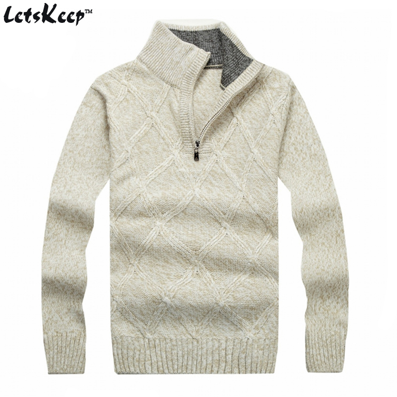 New LetsKeep 2016 winter pullover sweater men solid stand collar wool mens sweater thick plaid knitted