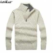Nova LetsKeep 2016 pullover inverno camisola homens gola sólidos mens camisola de lã grossa manta de malha camisola Plus Size, MA268(China (Mainland))